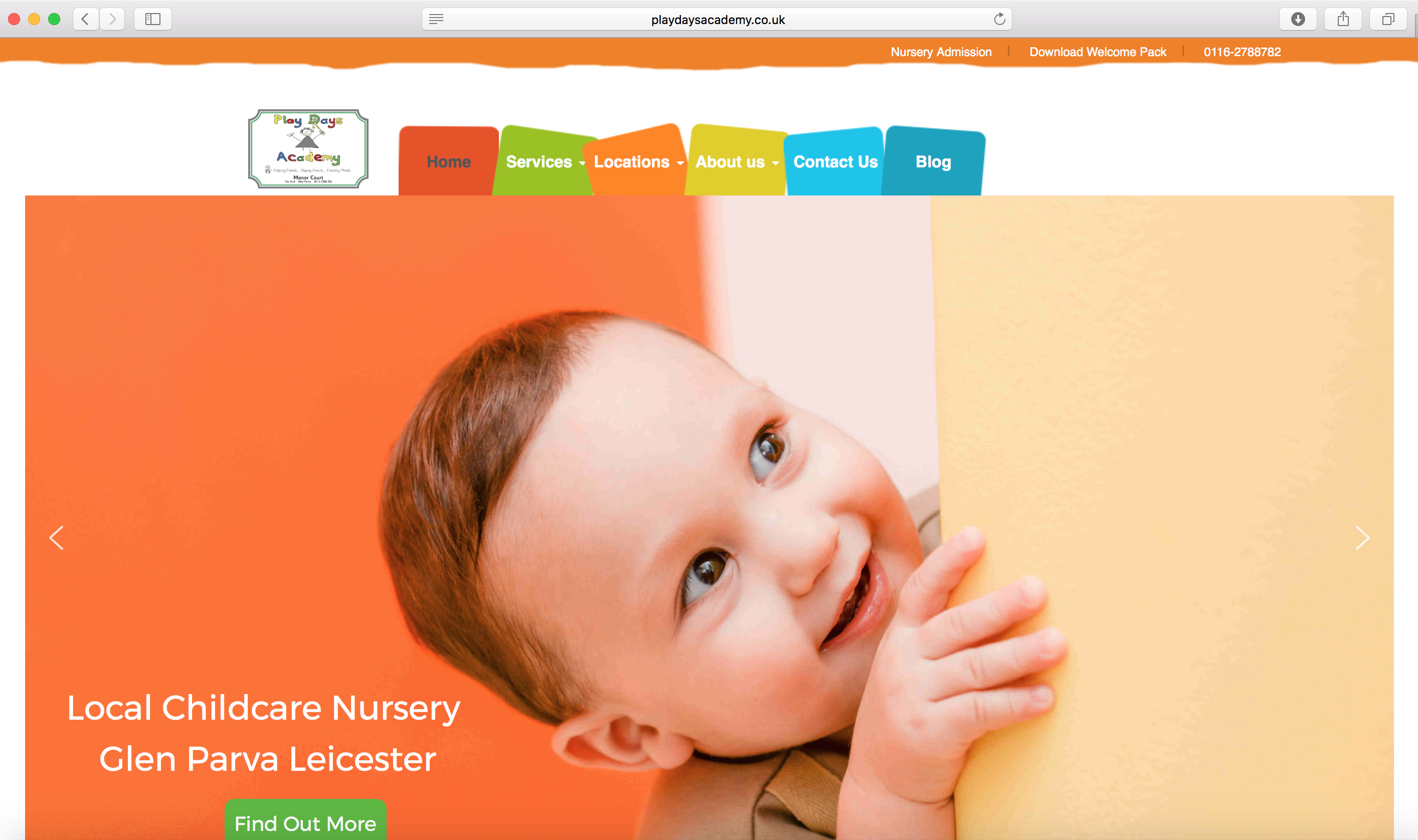 New nursery website design